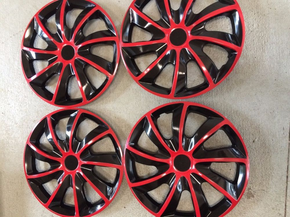 "4 Piece SET Hub Caps red / black 15"" Inch Wheel Covers for  Rims Cover Cap #DCWHEELCOVER"