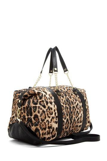 Leopard Print Quilted Weekender Bag ↞•à¸Ÿ ... : quilted weekender bag - Adamdwight.com