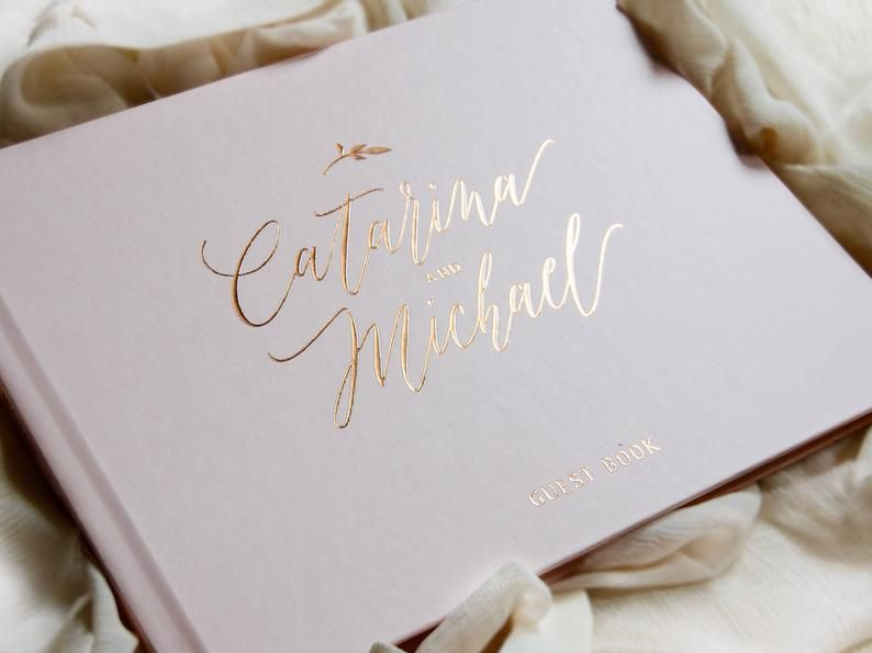 Wedding Guest Book Rose Gold Foil Wedding Guestbook Custom Etsy Personalised Guest Book Bridal Guest Book Wedding Guest Book