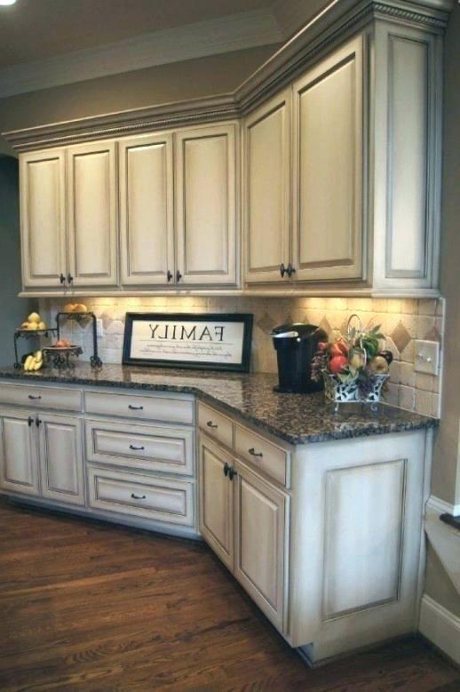 Beautiful Antique White Glazed Kitchen Cabinets Design ...