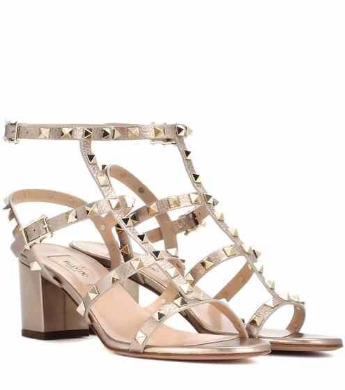Genuine For Sale Garavani Rockstud metallic leather sandals Valentino Free Shipping Low Shipping Sunshine SHvL7T