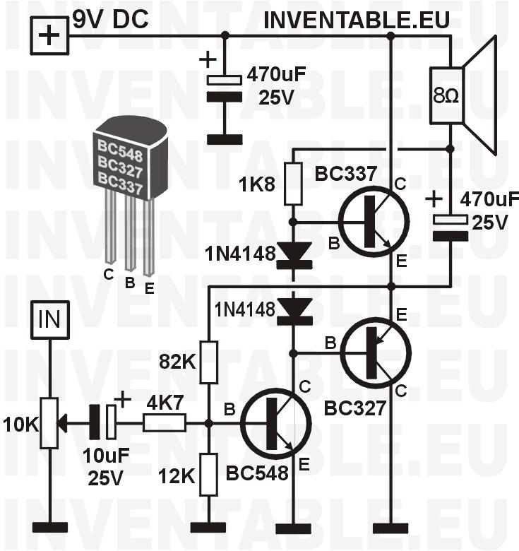 amplificador transistorizado con transistores bc327 y bc337 de salida