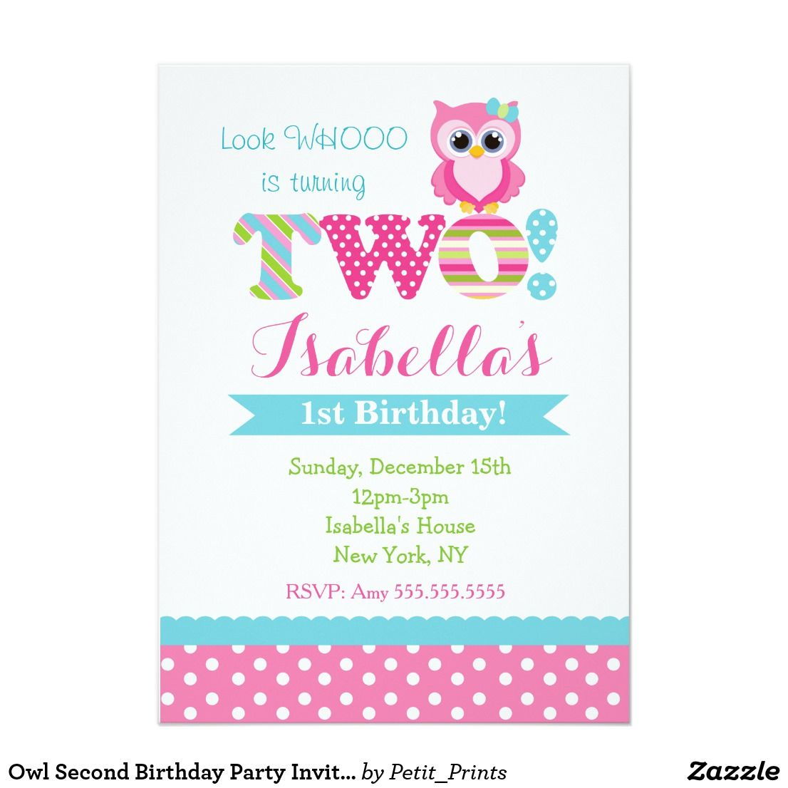 Owl Second Birthday Party Invitations | Party invitations and Birthdays