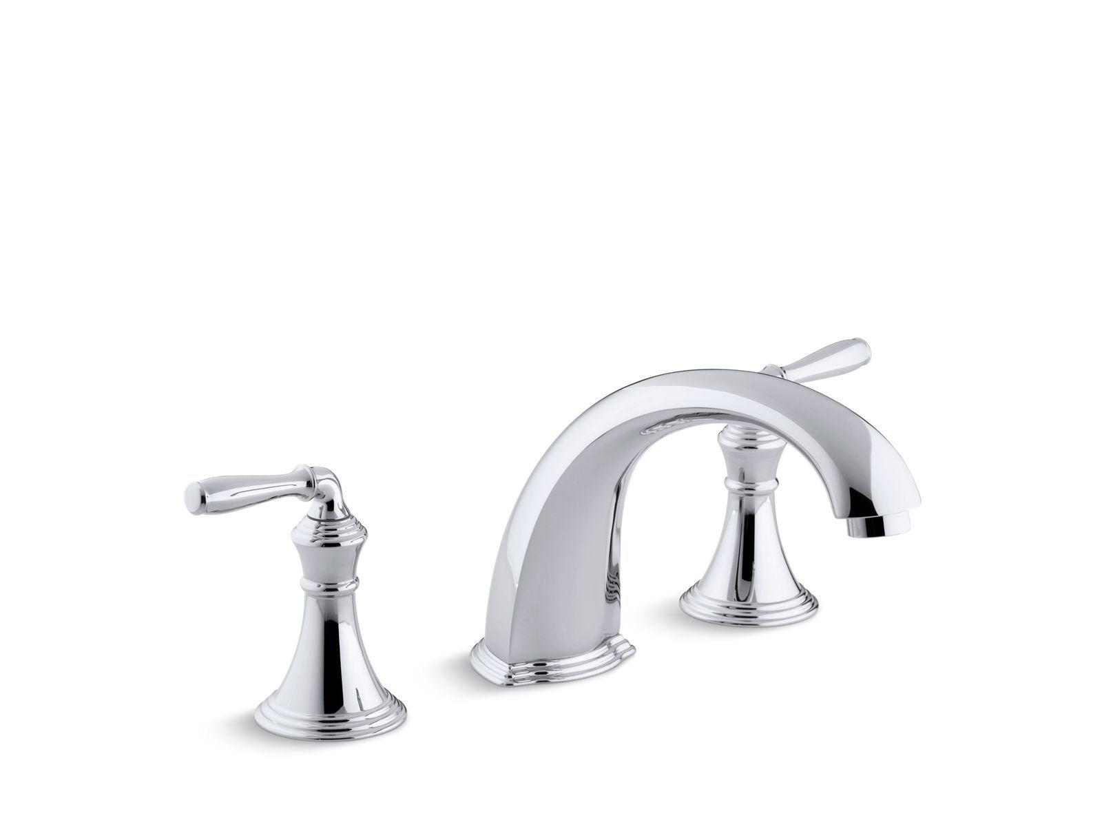 Kohler Devonshire Deck /Rim Mount Bath Faucet Trim For High Flow Valve With  Non Diverter Spout And Lever Handles, Valve Not Included Finish: Pol.