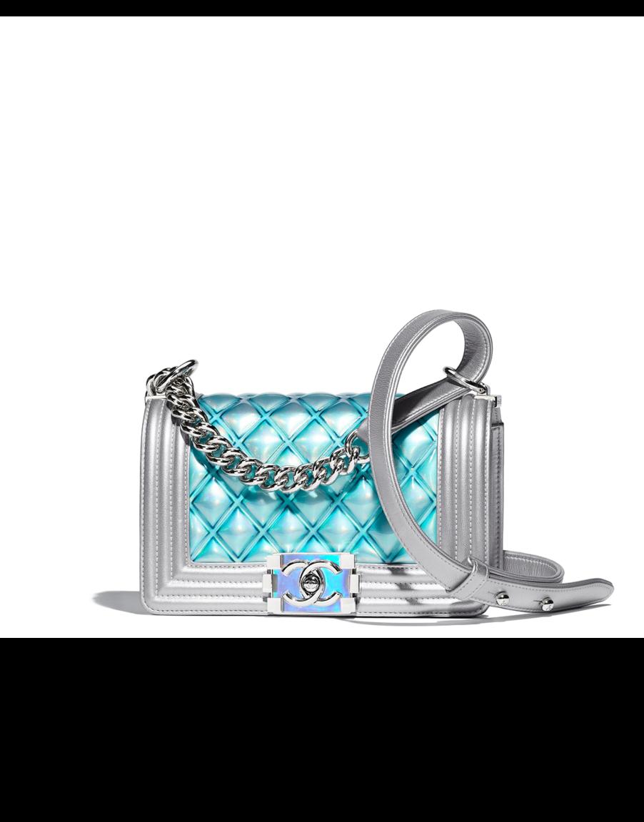 3dd2c41a3caa Small BOY CHANEL handbag, pvc, metallic lambskin & silver-tone metal-blue