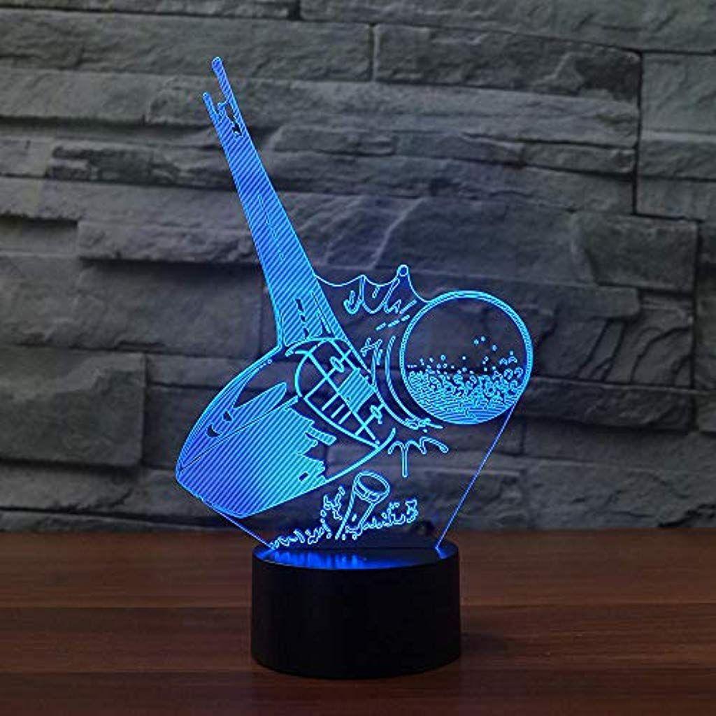 Runtooer Tisch Nachttischlampen Led Kickoff Golfball Lampe 7 Farbwechsel 3d Illusion Nachtlicht Weihnachtsgeschenk Junge Nachtlicht Nachttischlampe Farbwechsel