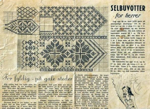 Patroon Selbu handschoenen, 1948 | Mittens patterns | Pinterest