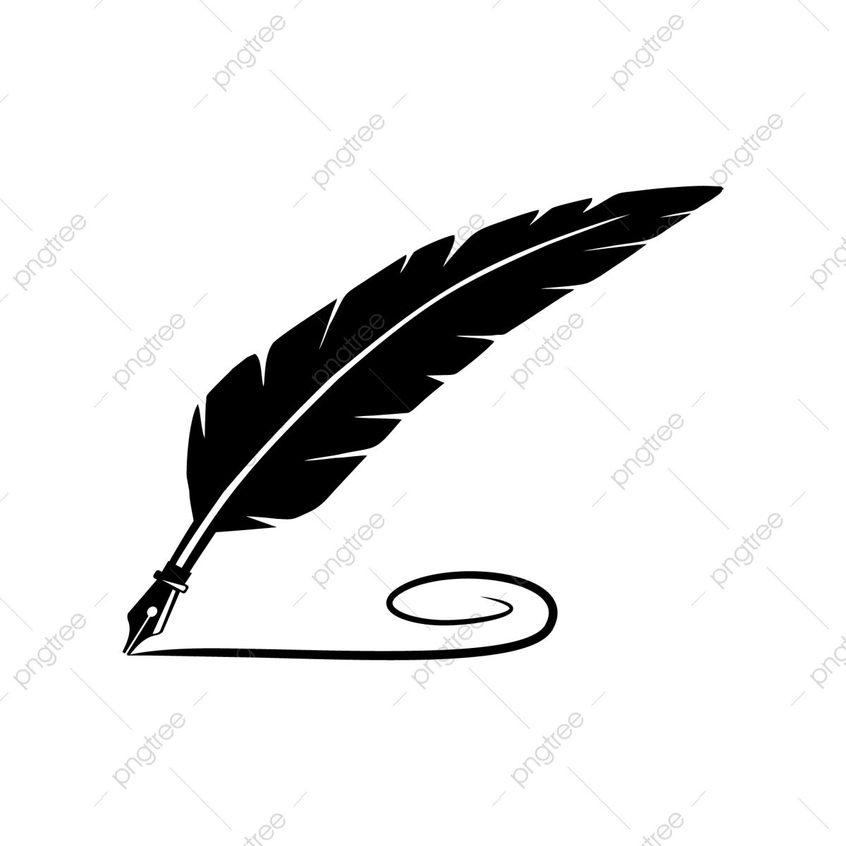 Black Quill Feather Pen With Writing Line Vector Logo Design Feather Feather Icons Line Icons Png And Vector With Transparent Background For Free Download Feather Logo Pen Icon Vector Logo Design