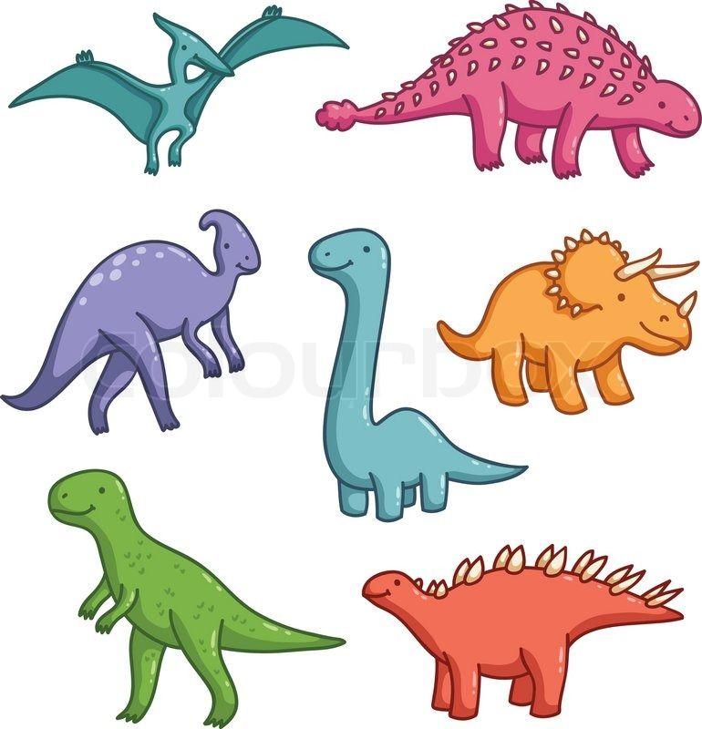 Cute Dinosaurs Vector Collection Stock Vector Colourbox On