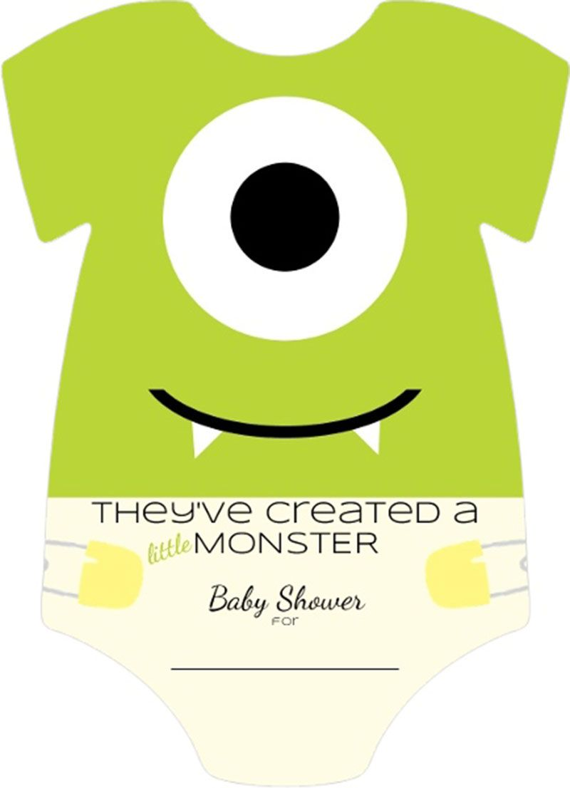 Cute Baby Shirt Little Monster Fill In Blank Baby Shower Invitation ...