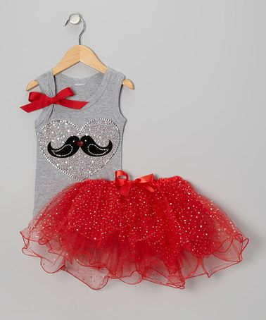 Oh, this would be SO CUTE for a portrait session!!!  Take a look at this Gray Heart Birds Tank & Tutu - Infant, Toddler & Girls by So Girly & Twirly on #zulily today!