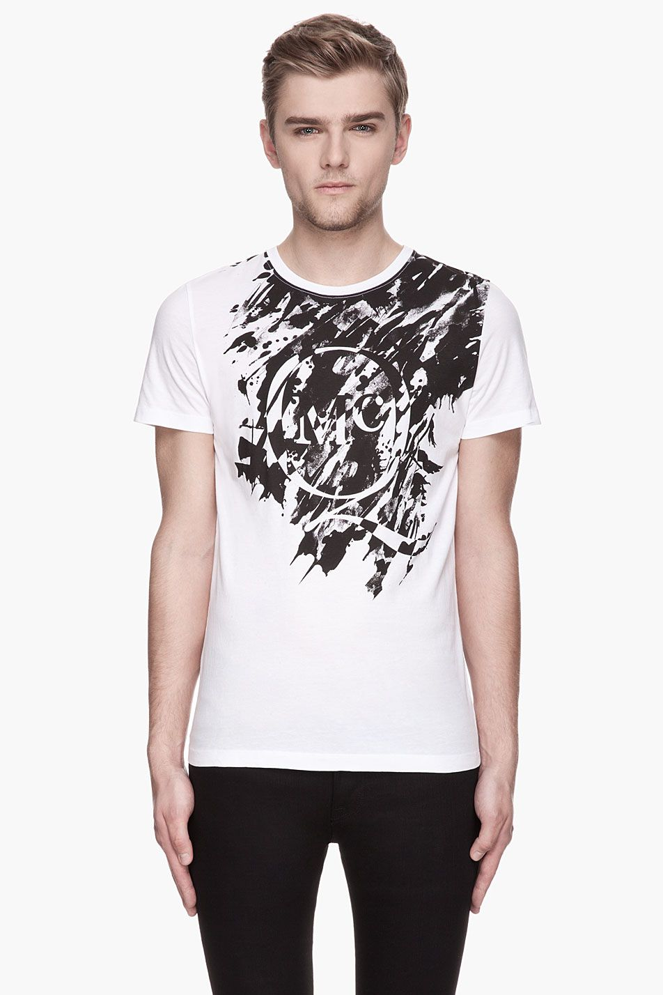 MCQ ALEXANDER MCQUEEN White black-splattered logo t-shirt