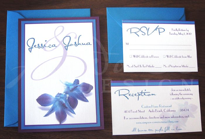 Purple And Blue Wedding Invitations: Blue & Purple Orchid Invitation-wish I Saw These When I