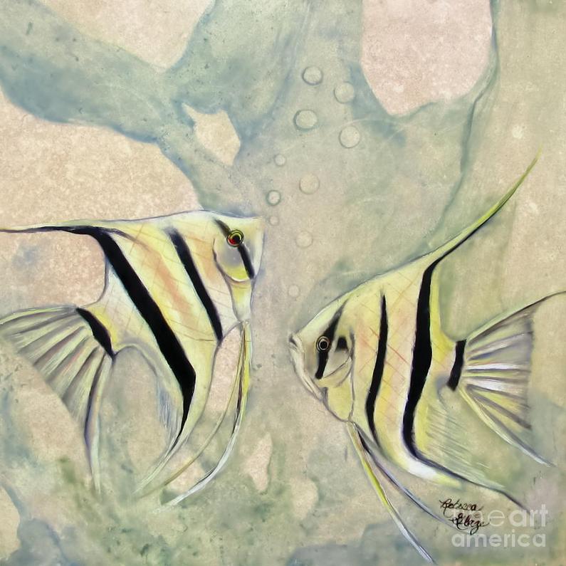 An Original Oil Painting Of Two Swimming Angel Fish Fineartamerica Featured Cosmic Swim Rebecca Glaze