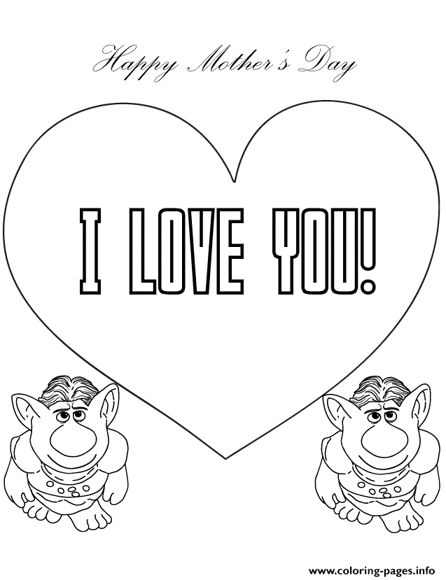 Print trolls from frozen movie say i love you coloring pages