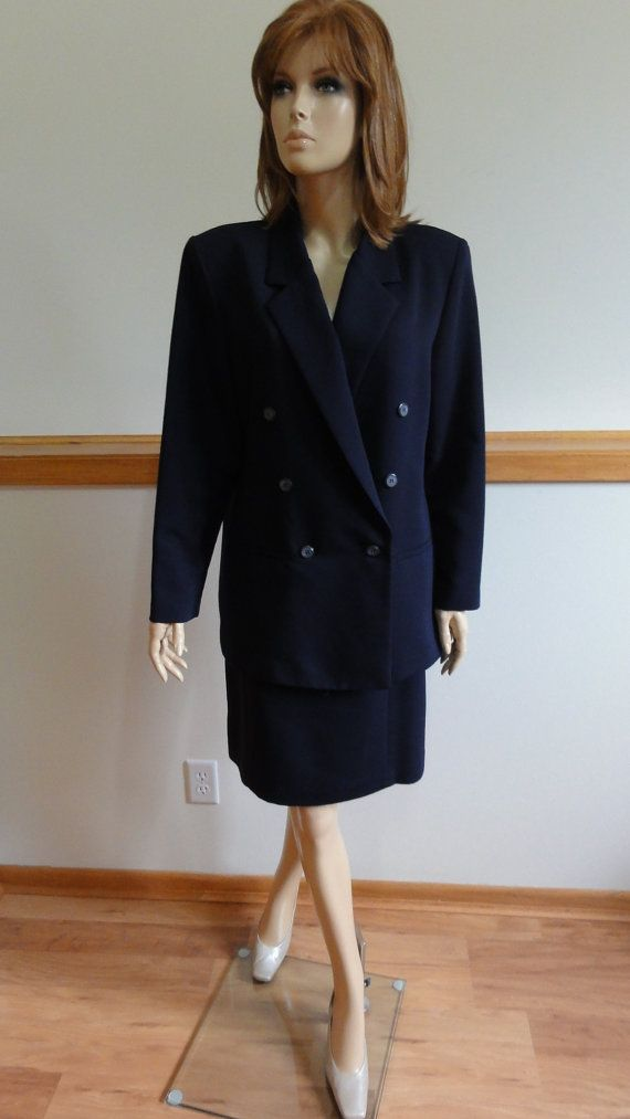 Bogo Sale Vintage Skirt Suit Dress Size 14 Double Breasted Lined