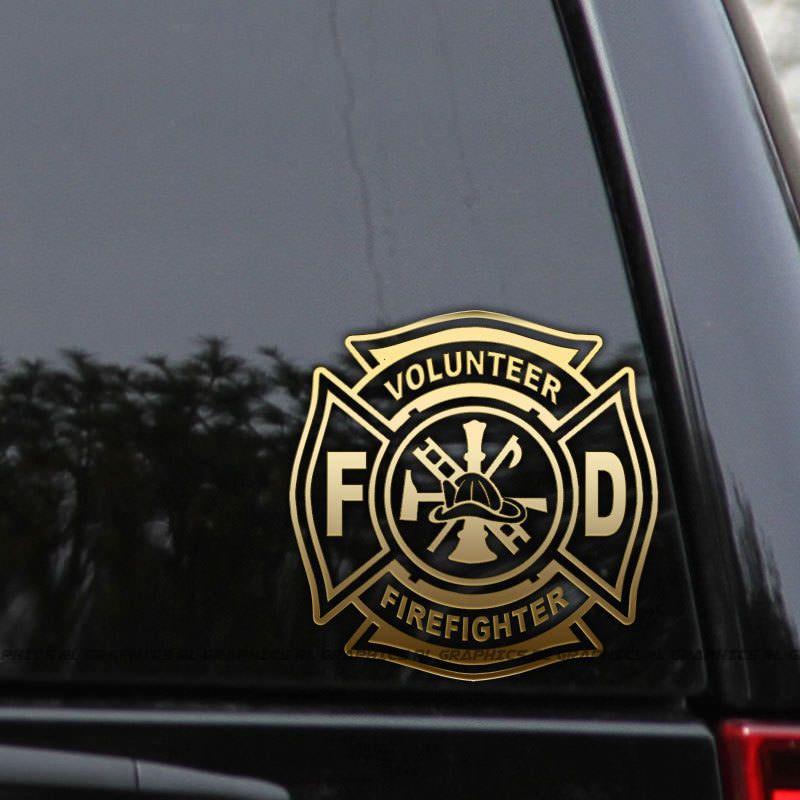 Volunteer Firefighter Decal Sticker Fire Department Maltese Cross Car Window