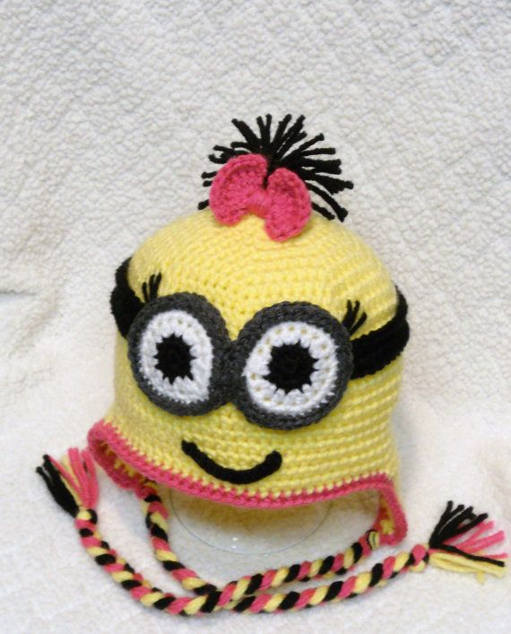 Girl Yellow Minion with Goggles crochet hat. If boy take away bow ...