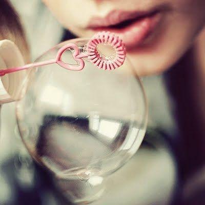 bubble blowing.