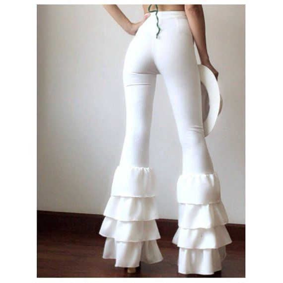 9ffdc7cba50edc Women's High Waist with Super Ruffle 4 Tiered Bell Bottoms Flare Pants/vintage  70s Pants /Disco pant
