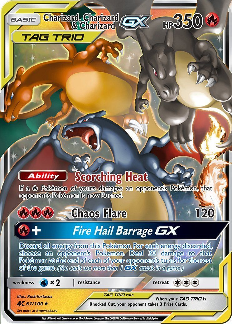 Charizard Charizard Charizard Gx Tag Team Custom Pokemon Card Charizard Charizard Charizard Gx Tag Cool Pokemon Cards Rare Pokemon Cards Pokemon Cards