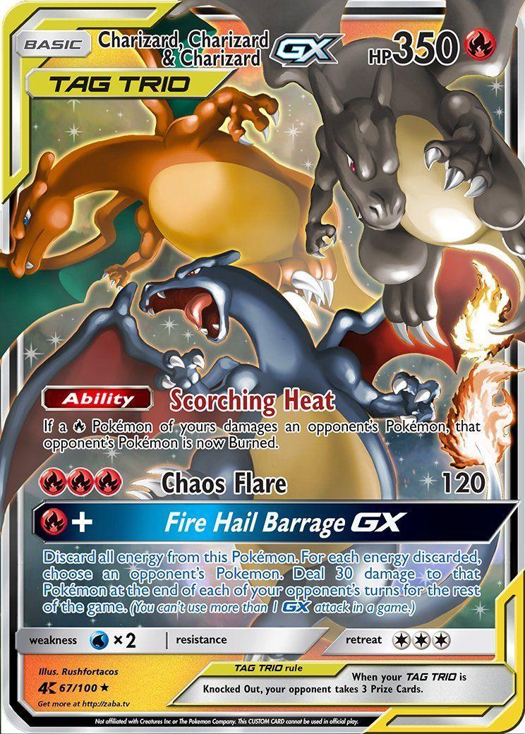 Charizard charizard charizard gx tag team custom pokemon