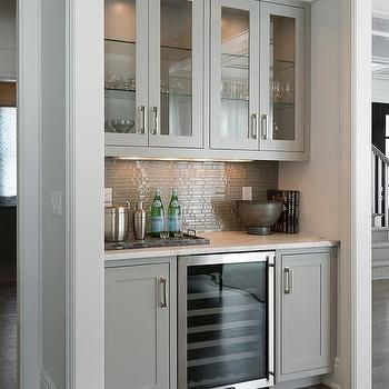 Contemporary Living Room Bar Nook Is Filled With Gray Glass Front Upper Cabinets And Shaker Lower Fitted A Wine Cooler Paired