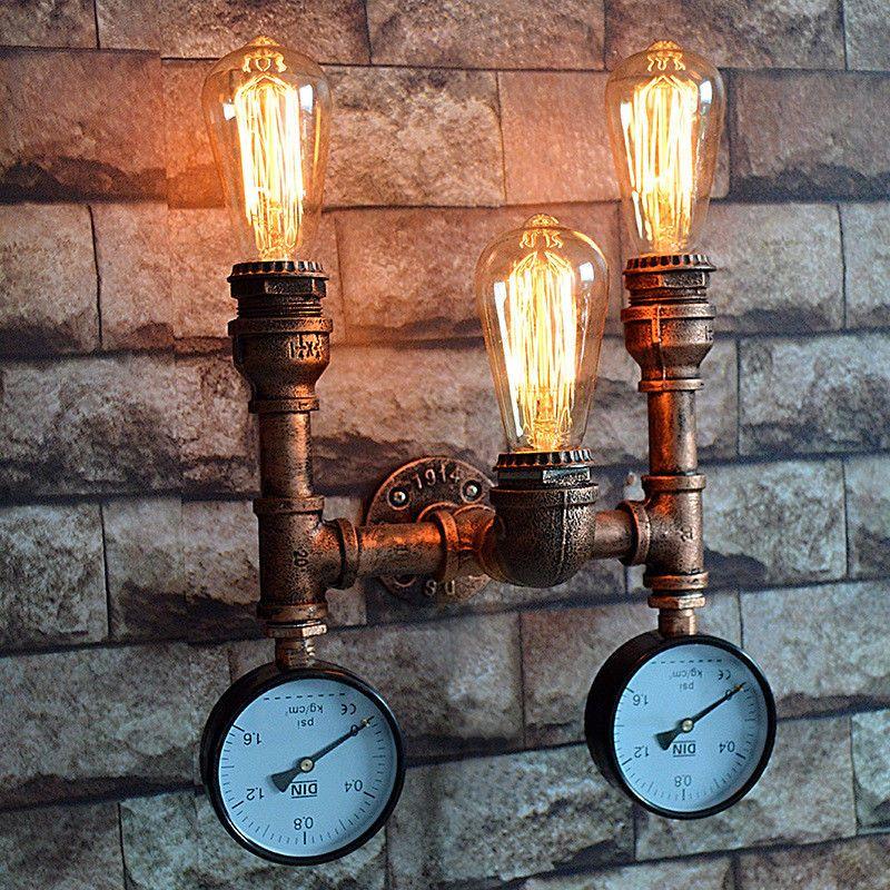 E27 Wandleuchte Vintage Retro Eisen Rohr Wand Lampe Wasserrohr