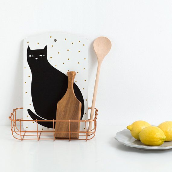 Schneidebrett schwarze Katze Illustration von von depeapa auf Etsy