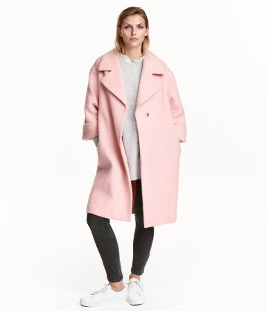 Light pink. Straight-cut, knee-length coat in textured-weave ...