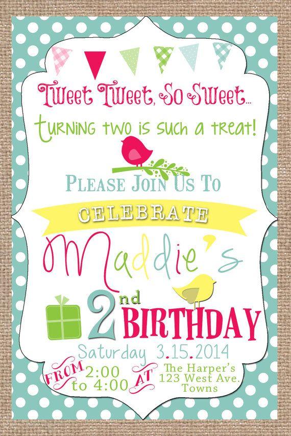 tweet tweet little birdie birthday invitation vintage burlap