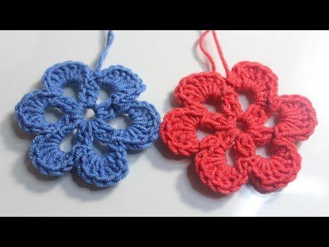 Crochet Flower For Beginner كروشية وردة مفرغة للمبتدئين Youtube Crochet Flowers Crochet Crochet Necklace
