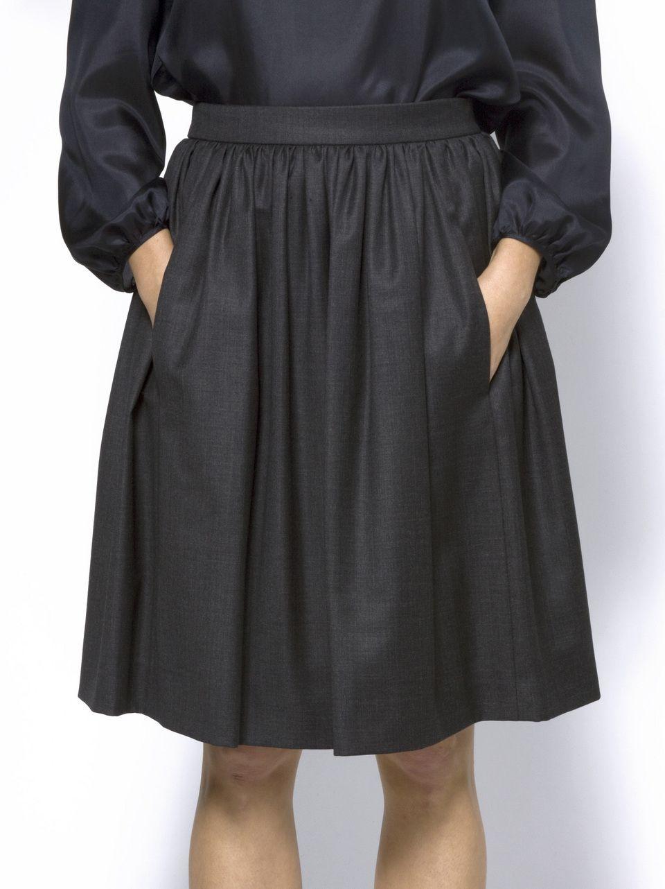 pleated skirt, dark grey