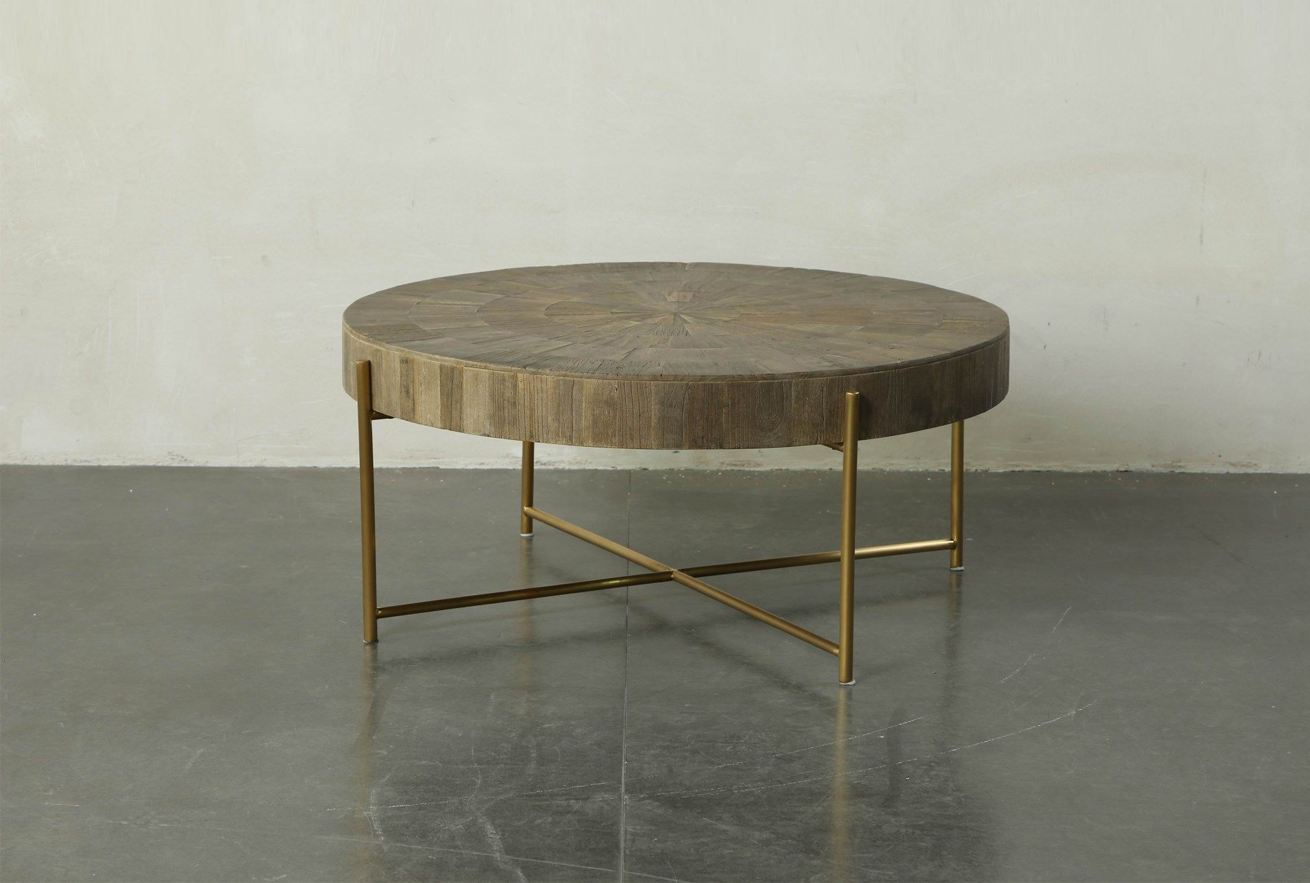 Round Natural Wood And Gold Coffee Table Gold Coffee Table Coffee Table Gold Wood [ 1288 x 1911 Pixel ]