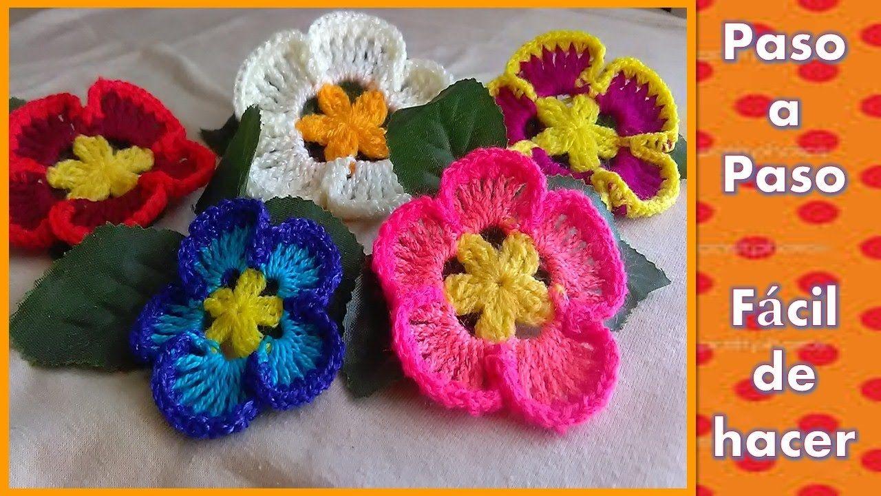 Flor Tejida En Crochet Paso A Paso Muy Facil De Hacer Cicek
