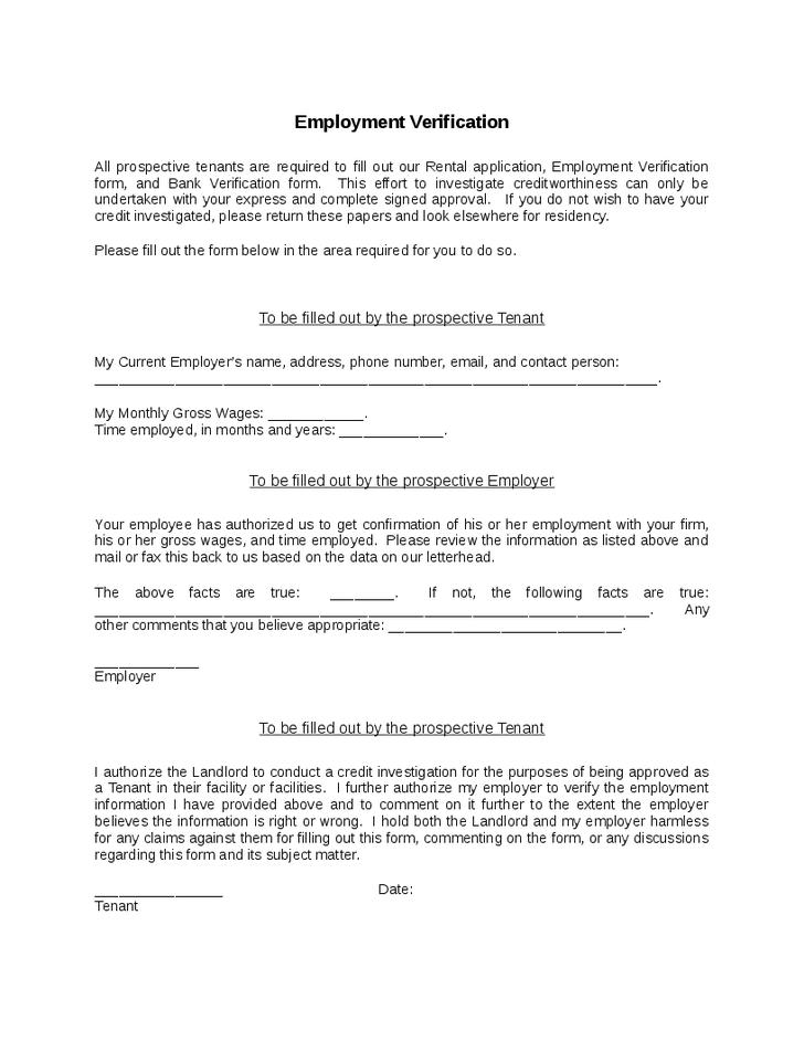 Verification Form   Printable Sample Rental Verification Form Real Estate Forms