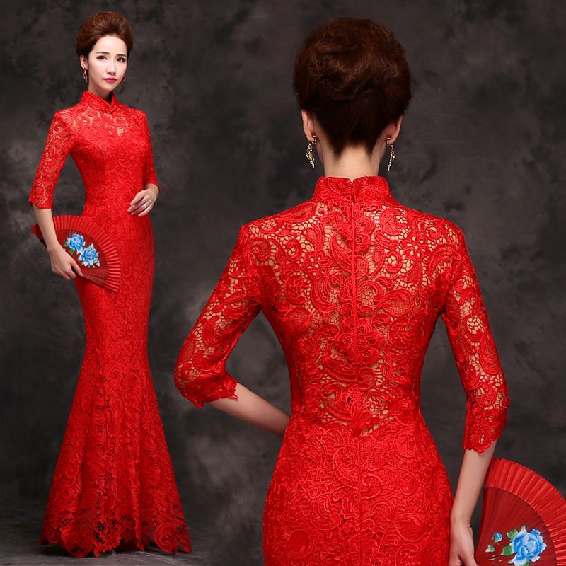 Half sleeve hollow back red lace wedding cheongsam mandarin collar ...