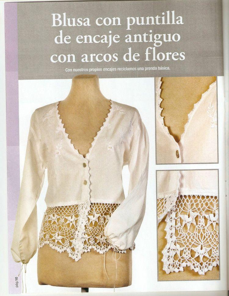 Patron Crochet.Combinacion Crochet y Tela | Blusas y vestidos ...