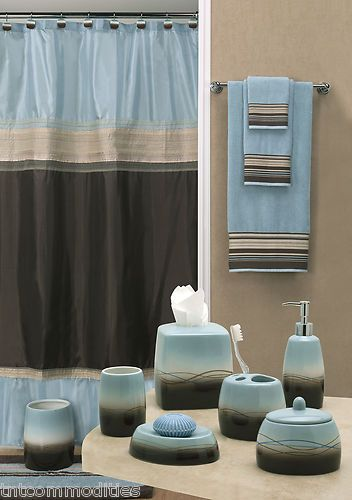 modern bold style mystique blue brown bath accessories bathroom collection