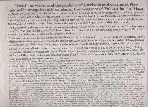 """Lettera dei 327 sopravvissuti all'Olocausto contro massacro a #Gaza: """"il genocidio inizia con il silenzio del mondo""""."""