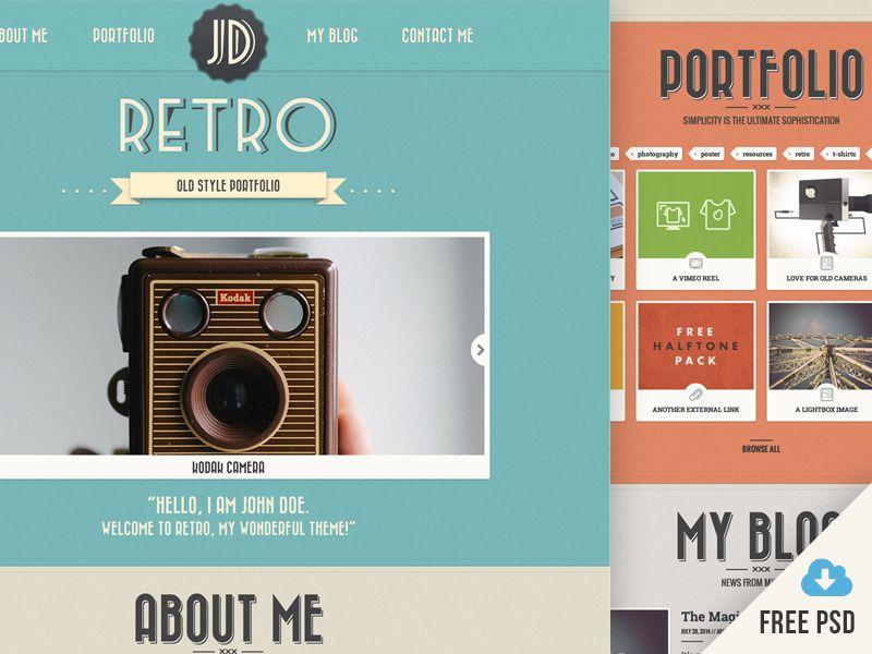 New Retro Portfolio V4 Free Psd Graphic Desing Pinterest