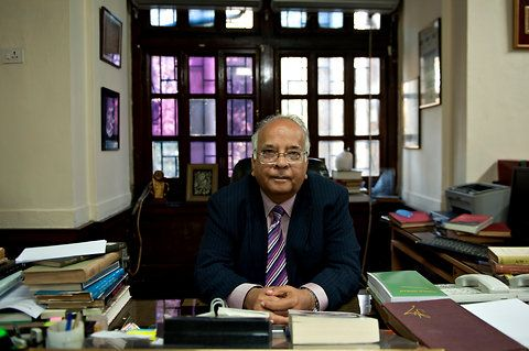 National Archives of India: Mushirul Hasan, director general in his office
