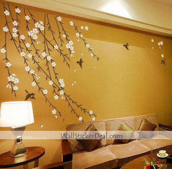 Birds Garden Flower Wall Sticker Home Decorating Photo Nursery Wall Decals Tree Wall Stickers Vines Tree Wall Decal