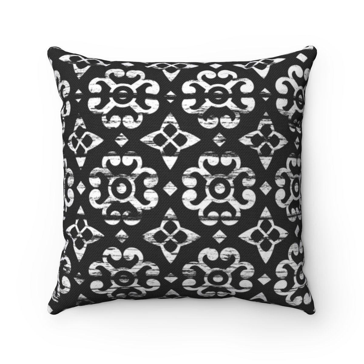 Black and white geometric farmhouse throw pillow cover