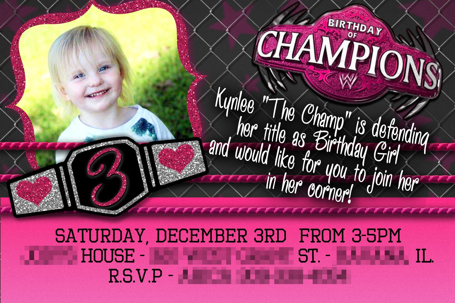 Wwe themed girls party designed by rmbartanddesign invitation wwe themed girls party designed by rmbartanddesign invitation wwe wrestling filmwisefo