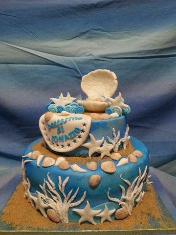 Torta battesimo bambino tema mare conchiglie beb cake for Decorazioni torte tema mare