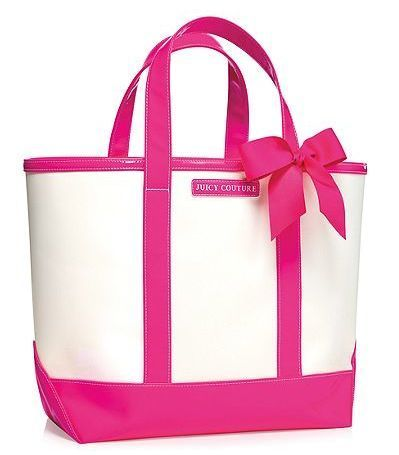 LOVE THIS....Juicy Couture Tote Bag Purse Carry All Weekender Pink White Bow Large