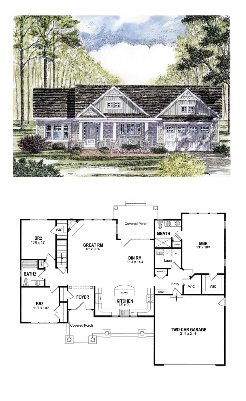 Traditional Style House Plan 94182 With 3 Bed 2 Bath 2 Car Garage Ranch House Plans Craftsman House Craftsman House Plans