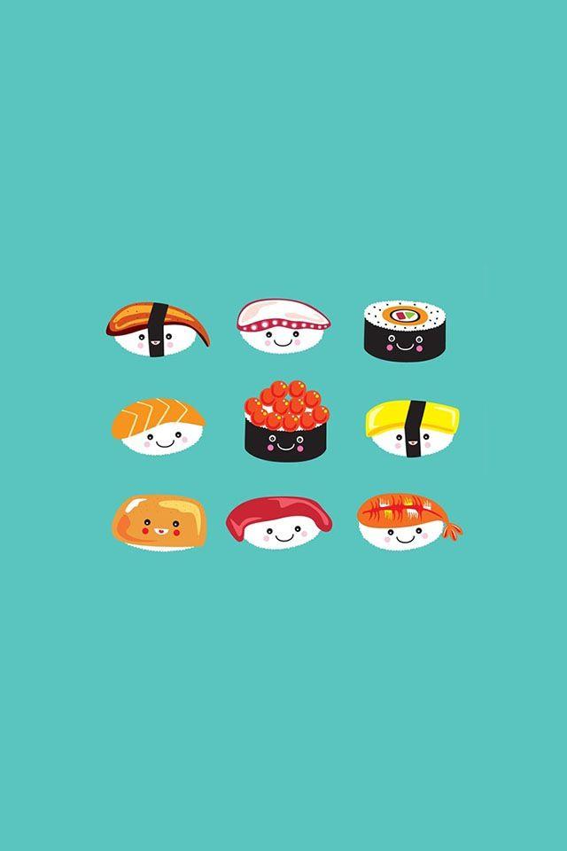 9 Little Sushis Sushi Cartoon Iphone Wallpaper