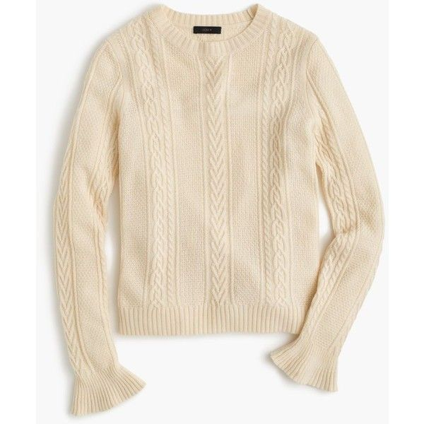 668724340c J.Crew Cable Crewneck Sweater With Ruffle Sleeves ( 80) ❤ liked on Polyvore  featuring tops